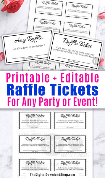 Editable and printable raffle tickets with a black and white theme. These DIY raffle tickets are the best way to create perfectly customized raffle tickets for your party or event!