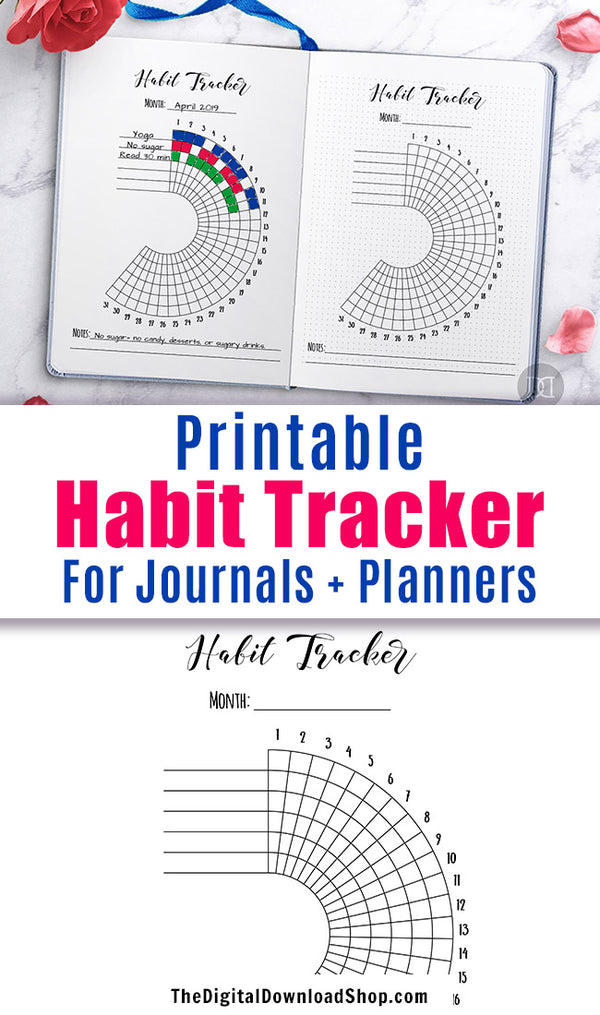 Bullet Journal Habit Tracker Printable- Half Circle