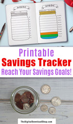 Bullet Journal Savings Jar Printable- Use this bujo printable to help keep track of your savings goals and stay motivated! | #saveMoney #moneySavingTips #planner #bulletJournal #DigitalDownloadShop