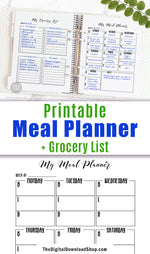 Meal Planner Printable + Grocery List Printable- Black + White