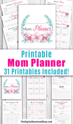 Printable mom planner / mom binder with watercolor flowers. This home management binder printable is a must for busy moms! Use it to record important information and reminders related to your family, your finances, and yourself! | busy mom binder, home binder, household binder, household planner, SAHM, stay at home mom, working mom, #printable #planner #DigitalDownloadShop