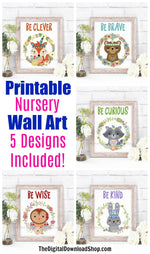 Woodland Animals Nursery Printables- 5 cute printable nursery wall art prints with tribal woodland animals. These printables are all gender neutral, making them perfect for both boy's and girl's rooms. | printable nursery wall art, be brave little bear, be clever little fox, #nurseryDecor #nurseryWallArt #DigitalDownloadShop