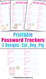 3 Password Tracker Printables: Animals- 3 handy password tracker printables with cute animals! Get your website passwords organized in style with these adorable password keepers!  | #printable #passwordTracker #DigitalDownloadShop