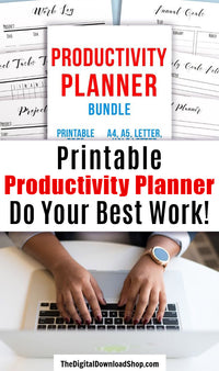 Productivity Planner Printable Bundle- Use these handy project management/goal tracking printables to help yourself be as productive as possible when working on projects or goals! Whether you want to better manage your time for a personal, work, or school project, this bundle can help! | #productivity #planner #productivityTips #DigitalDownloadShop