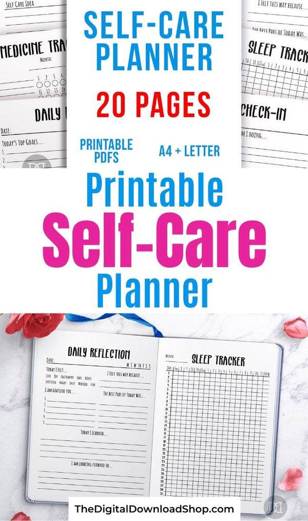Self-Care Planner Printables Bundle- If you want to stay on top of your self-care, you need to get this printable self-care planner bundle! | #selfCare #mentalHealth #plannerPrintables #planner #DigitalDownloadShop