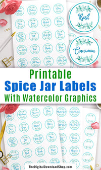 Printable Spice Jar Labels- Get your spice cabinet organized with these handy printable spice jar labels! They fit Avery label templates! | kitchen organizing, pantry organizing, DIY labels, #kitchenOrganization #printableLabels #DigitalDownloadShop