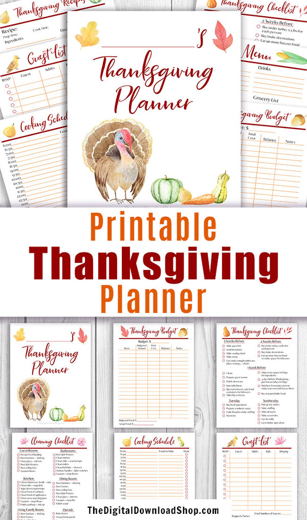 Printable Thanksgiving planner with beautiful watercolor artwork. This Thanksgiving dinner planner printable is a must for anyone hosting a Thanksgiving of any size! Use the printable menu planner, cooking schedule, checklist, and other worksheets to plan and budget for your best, least stressful Thanksgiving ever! | #printable #Thanksgiving #DigitalDownloadShop