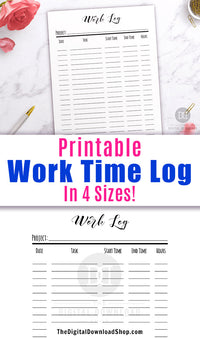 Work log printable with a minimalist black and white design. Use this printable productivity planner to help you break your projects down into more manageable, smaller tasks! | #planner #printable #productivity #DigitalDownloadShop