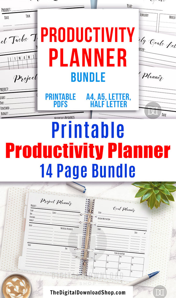 Productivity planner printables bundle with 14 helpful pages! Use these handy project management/goal tracking printables to help yourself be as productive as possible when working on projects or goals!