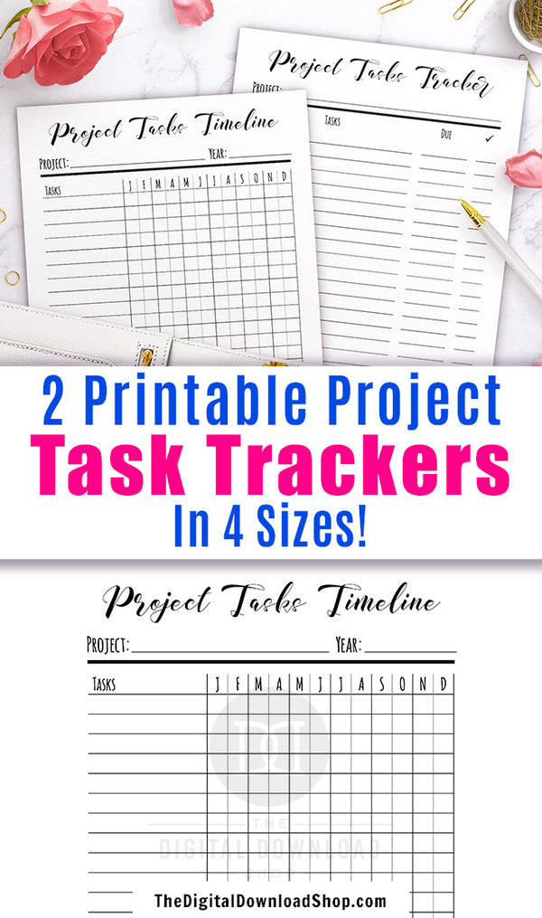 2 project task tracker printables- a task timeline planner and a task tracker checklist.