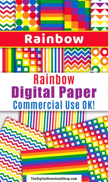 Rainbow Digital Papers- 10 bright and colorful rainbow digital paper patterns for personal and commercial use! These would be great for birthday projects! | scrapbook background, colorful patterns, digital papers for kids, #digitalPaper #rainbow #DigitalDownloadShop
