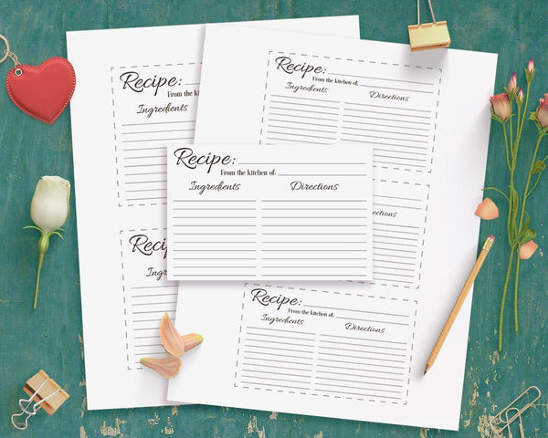 Recipe Card Printable - The Digital Download Shop