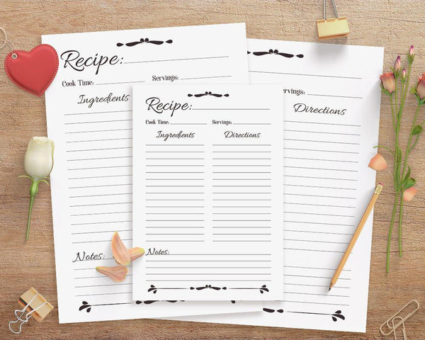 Recipe Sheet Printable - The Digital Download Shop