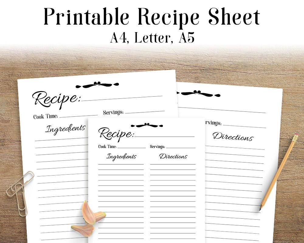 graphic regarding Printable Recipe Pages named Recipe Sheet Printable