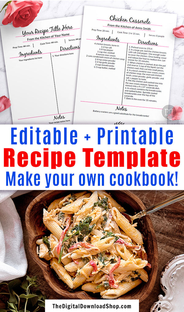 Recipe template editable printable with a beautiful pink and black theme! This editable cookbook template page is the perfect way to get your family's favorite recipes organized, or can be given as a thoughtful wedding gift! | make a cookbook, DIY cookbook, #recipeTemplate #printable #editable #cookbook #DigitalDownloadShop