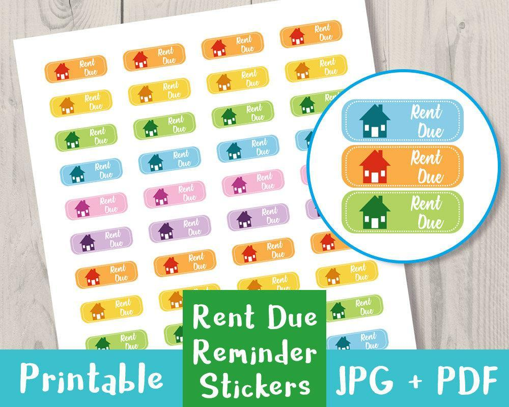 rent due printable planner stickers the digital download shop