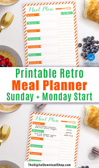Retro Weekly Meal Planner Printable- Use this cute retro meal planner template printable to help you plan out your meals for the week (which saves you money and reduces stress)! | menu plan printable, meal planning, menu planning, food planner, food schedule, #mealPlanning #menuPlanning #DigitalDownloadShop