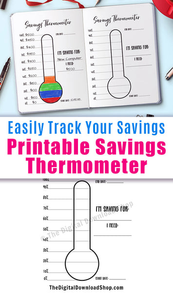 Savings Thermometer Printable- Use this savings chart printable to help you keep track of your savings goals and stay motivated! | printable bullet journal insert, printable planner insert, frugal living, personal finance, #saveMoney #planner #DigitalDownloadShop