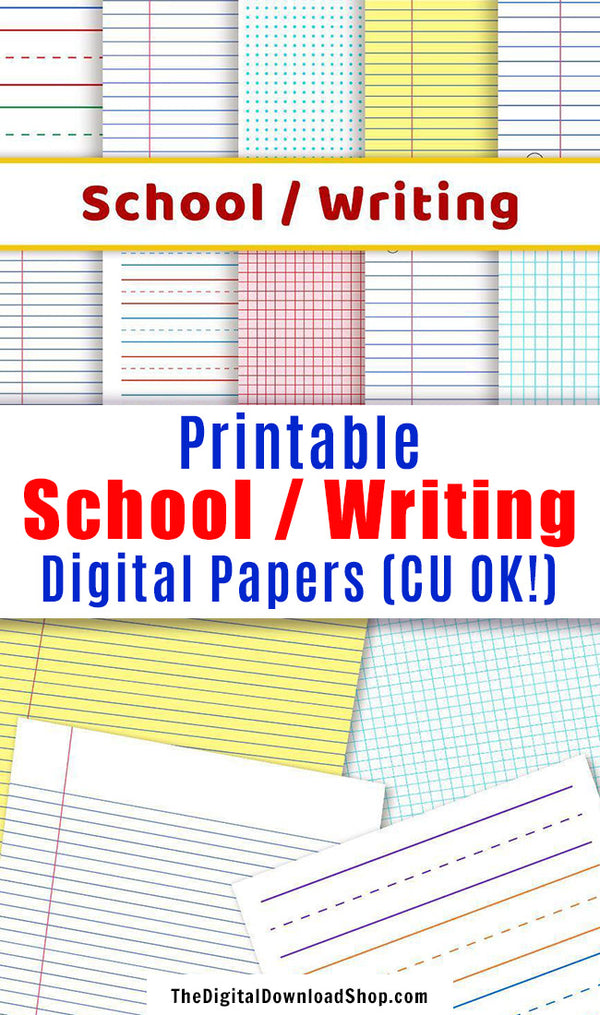 School + Writing Digital Papers- his digital background set includes 10 printable scrapbook papers with school writing and graphing layouts. | handwriting practice paper, lined paper, graph paper, bullet journal dot grid, commercial use license, #digitalPaper #writingPaper #DigitalDownloadShop