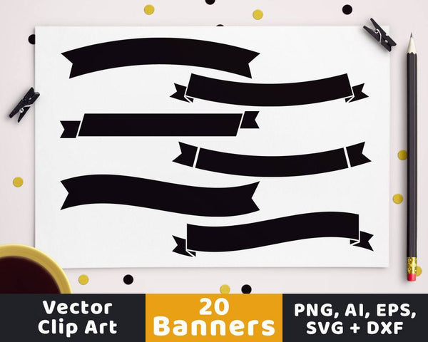Simple Banners Clipart - The Digital Download Shop