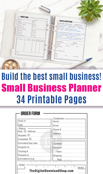 Small business planer printable bundle with 34 helpful pages! Use this huge business management planner to stay on top of all aspects of your business!