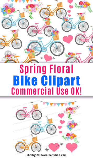 Spring Floral Bicycles Clipart- This rustic bike graphics set includes beautiful colorful bikes, including bikes with flowers in their baskets and bikes with flowers on their back wheels, plus bouquets and hearts! | commercial use clipart, #clipart #graphics #DigitalDownloadShop
