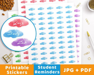 Student Printable Planner Stickers - The Digital Download Shop