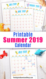 2019 summer calendar printable with 3 months- June, July, and August. Keep your family up-to-date on all the fun things you'll be doing this summer with the help of this summer calendar!