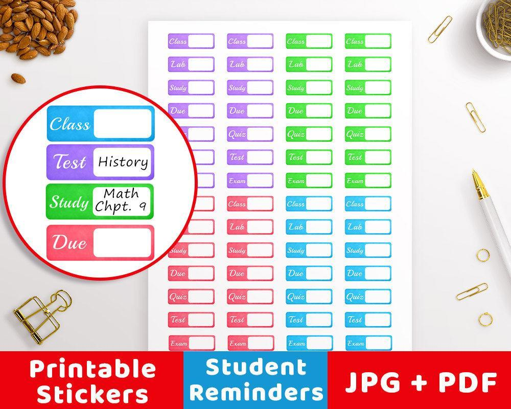 Tab Student Printable Planner Stickers - The Digital Download Shop