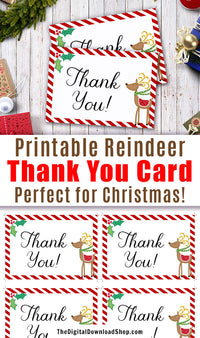 Printable Thank You Card: Christmas Reindeer- These printable holiday thank you notes are a lovely way to thank friends and family for their generous gifts this holiday season. They'd also be lovely as thank you cards for a winter baby shower or a holiday party. | #Christmas #printable #DigitalDownloadShop
