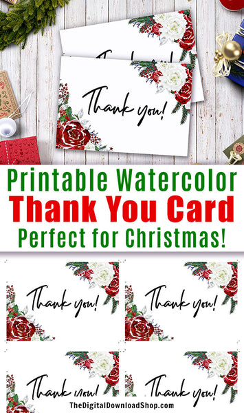 Printable Thank You Card: Holiday Florals- These printable thank you cards would make great Christmas gift thank you notes, or would be lovely thank you cards for a red and white themed wedding, a winter baby shower, or a holiday party! | #printable #Christmas #DigitalDownloadShop