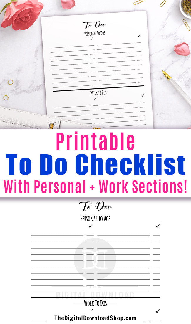 image regarding Printable to Do Lists for Work called Toward Do Checklist Printable- Individual + Effort The Electronic Obtain
