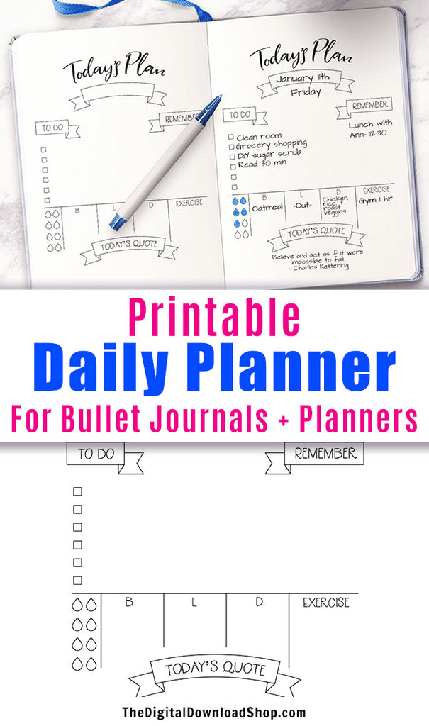 Today S Plan Daily Planner Printable The Digital Download Shop