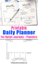 """Today's Plan"" Daily Planner Printable- Undated daily schedule printable for bullet journals and other planners. Use this daily layout template printable to plan out your days with ease! 