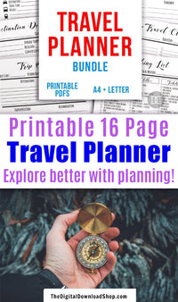 Travel /Vacation Planner Printable Bundle- Use these vacation planner printables to prepare for your trip and keep track of important information! | #travel #vacation #planner #printable #DigitalDownloadShop
