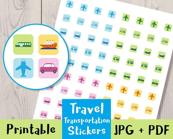Travel Printable Planner Stickers - The Digital Download Shop