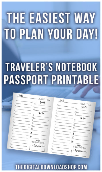 TN Passport Daily Planner Printable- This traveler's notebook printable is exactly what you need to easily plan your day in your passport size notebook! | planner inserts, TN passport size inserts, #travelersNotebook #printable #DigitalDownloadShop