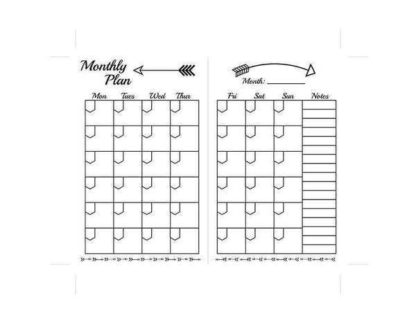 Traveler's Notebook Pocket Size Undated Monthly Planner Inserts - The Digital Download Shop