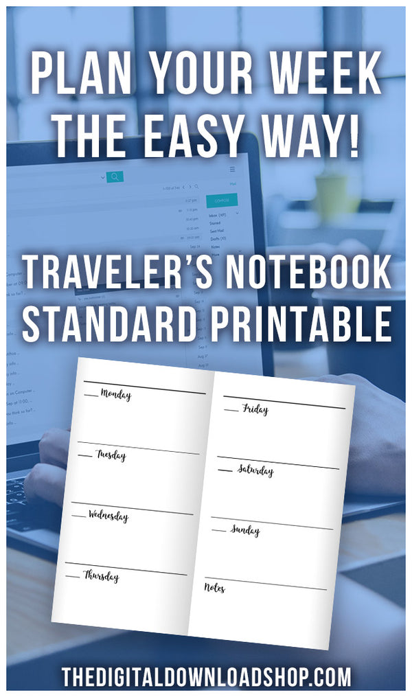 Traveler's Notebook Weekly Planner Printable- It's really easy to plan out your whole week if you have these TN regular/midori/standard size inserts in your notebook! | regular size inserts, midori size inserts, weekly planner printable #travelersNotebook #planner #DigitalDownloadShop