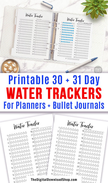 2 water tracker printables for bullet journals and other planners. Use these monthly hydration tracker template printables to keep tabs on how much water you drink! | drink more water, bujo printables, stay hydrated, #planner #bulletJournal #DigitalDownloadShop