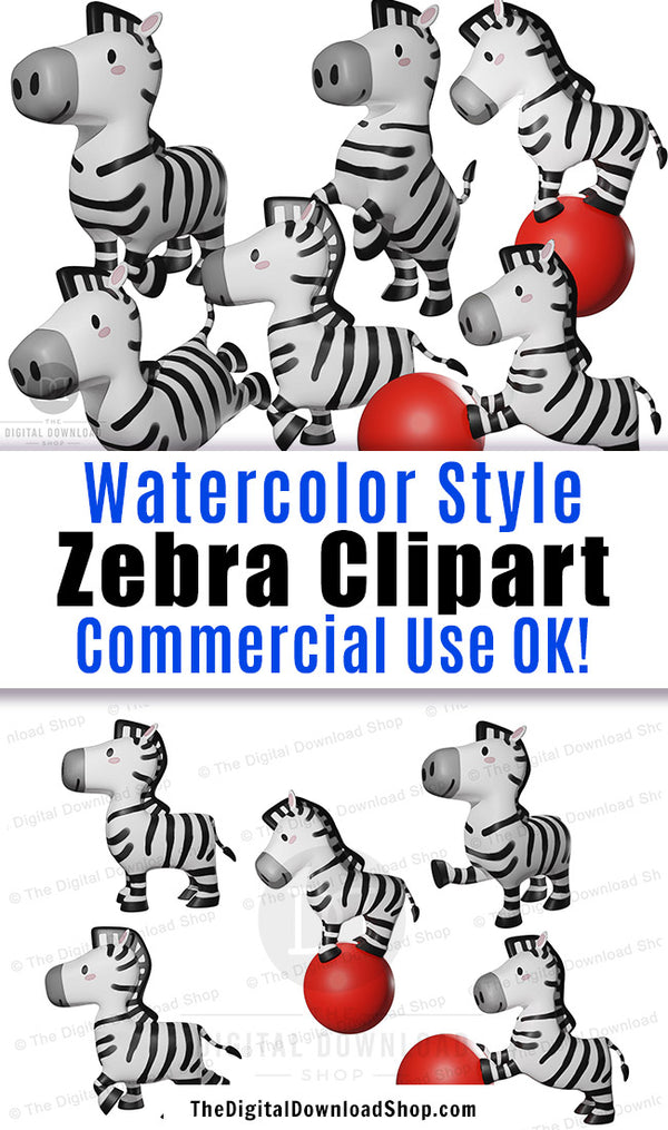 10 watercolor style zebra clipart graphics for personal and commercial use. These would be perfect for making printable wall art, DIY safari party printables, and other fun graphic design projects! | #clipart #graphicDesign #scrapbooking #digiscrap #DigitalDownloadShop