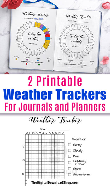 2 Weather Tracker Bullet Journal Printables- Use this weather tracking planner printable to keep a log of the weather in your area! | #bulletJournal #planner #bujo #DigitalDownloadShop