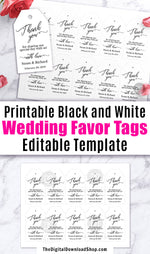 Wedding Favor Tags Printable: Black + White- These editable thank you tags would make lovely finishing touches to your wedding favors, and since they're just black and white they're easy on your printer ink! | gift tags, thank you tags, #favorTags #wedding #DigitalDownloadShop