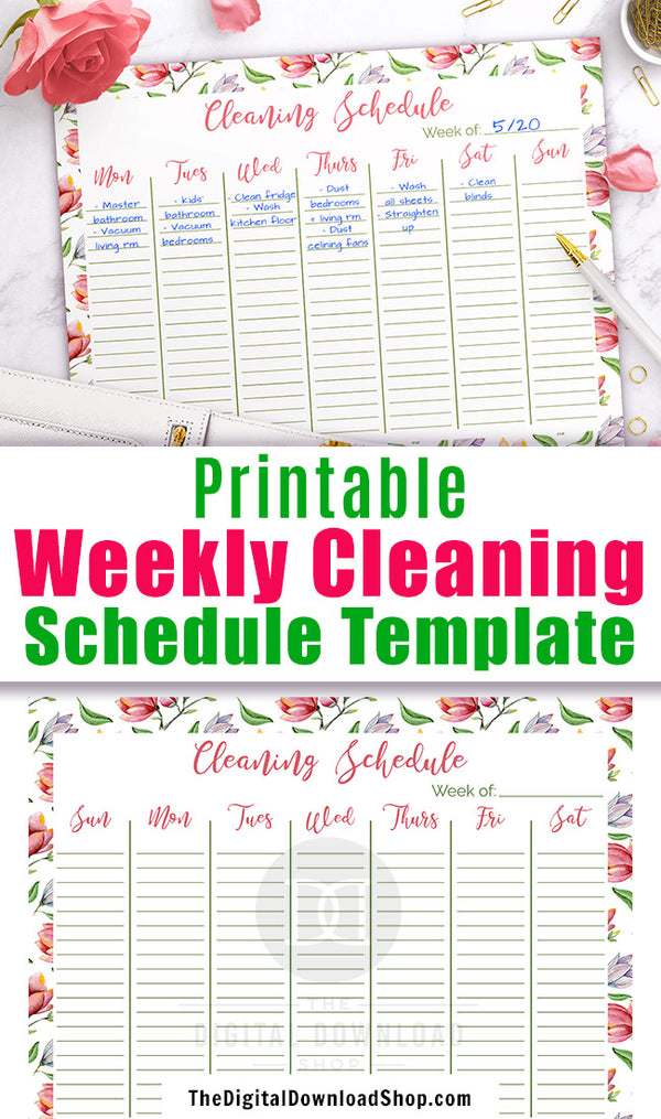 photo about Printable Weekly Cleaning Schedule titled Weekly Cleansing Program Printable- Floral