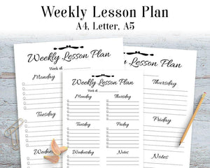 Weekly Lesson Plan Printable - The Digital Download Shop
