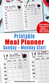 Bullet Journal Weekly Menu Planner Printable- Use this meal schedule template printable to help you plan out your meals for the week in your bullet journal or planner! | menu planner, meal planning template, bujo addict, planner community, #mealPlanning #menuPlan #DigitalDownloadShop