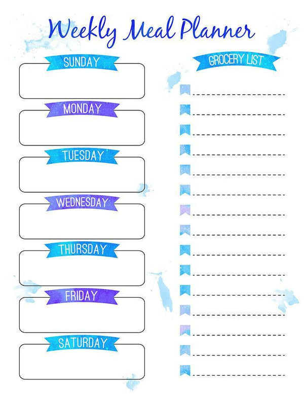 Weekly Meal Planner Printable- Watercolor Banners - The Digital Download Shop