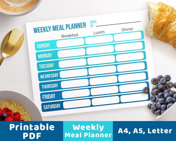 Weekly Menu Planner Printable- Blue Ombre - The Digital Download Shop