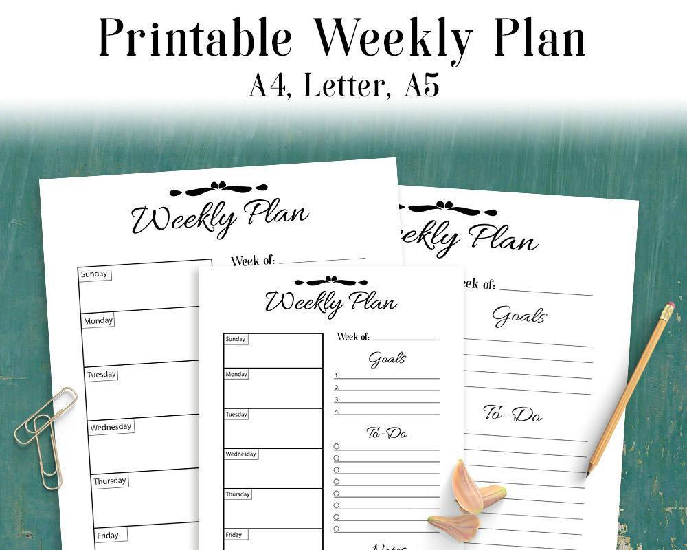 Weekly Plan Printable - The Digital Download Shop
