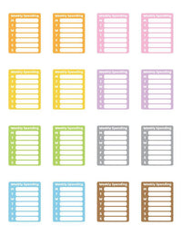 Weekly Spending Printable Planner Stickers - The Digital Download Shop